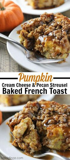 Overnight Pumpkin Cream Cheese French Toast with a spiced Caramel Syrup! - Overnight Pumpkin Cream Cheese French toast with a spiced caramel syrup! Crockpot French Toast, French Toast Bake, French Toast Casserole, Breakfast Casserole, Breakfast Crockpot Recipes, Brunch Recipes, Milk Recipes, Pain Perdu Simple, Pumpkin French Toast