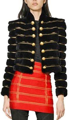 Black Faux-Fur Embellished Jacket