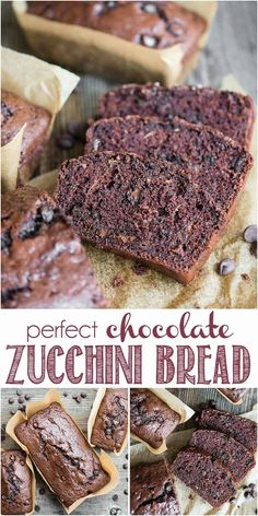 Perfect Chocolate Zucchini Bread puts all that garden zucchini to great use! This double chocolate zucchini bread is super moist and perfectly sweet. #chocolate #zucchini #bread #chocolatezucchinibread #easy #recipe #double #best #moist #homemade #withcocoapowder #sourcream Köstliche Desserts, Delicious Desserts, Dessert Recipes, Yummy Food, Easy Zucchini Bread, Zucchini Bread Recipes, Quick Bread, Healthy Chocolate Zucchini Bread, Healthy Breads