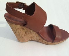 Calvin Klein NADIN Burnished Womens Wedge Ankle Strap Sandals Shoes 11 M Brown #Calvin Klein #Wedges #ebay #shoes #style #fashion