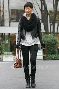 Tokyo street fashion. biker/androgynous look.