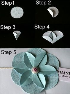 Use a punch to punch out circles & then fold into an origami flower! Use a punch to punch out circles & then fold into an origami flower! Diy Paper, Paper Crafting, Paper Cards, Papier Diy, Fleurs Diy, Circle Punch, Punch Punch, Hole Punch, Card Making Techniques