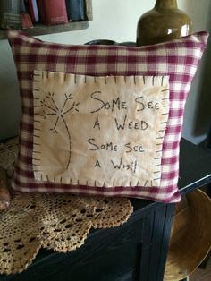 Handmade Primitive Stitchery Pillow