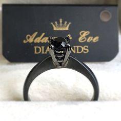 18k Black Rhodium Treated White Gold with Solitaire Black Diamond 0.54ct - Adam & Eve Diamonds - 1.684 $ Adam And Eve, Black Rhodium, Black Diamond, White Gold, Diamond, Adam An Eve, Black Diamonds
