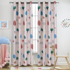 Childrens Curtains Melodieux Cartoon Trees Room Darkening Blackout Grommet Top Curtain/Drapes for Kids Room, 52 Curtains Childrens Room, Kids Room Curtains, Pink Curtains Nursery, Girl Curtains, Drapes Curtains, Outdoor Curtains, Bedroom Curtains, Fancy Curtains, Accessories
