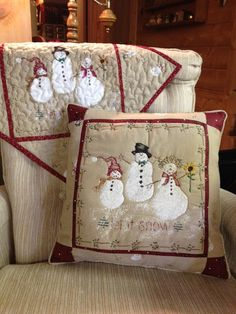 Daisy Kingdom Hand Quilted Snowman pillow by KoopsKountryKalico, $30.00