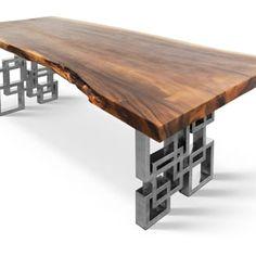 "7'3"" live edge, hardwood dining table on polished custom stainless steel legs - Yelp"