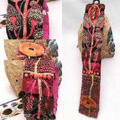 GB Design... cuff-bracelet Machine stitching, beading, horn button