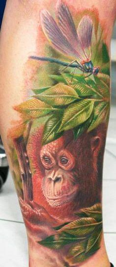 Realism Nature Tattoo by Zhivko Baychev Design Tattoo, Tattoo Designs, Mother Nature Tattoos, Tattoo Nature, Skin Color Tattoos, Tattoo Skin, Gorilla Tattoo, Tattoos For Dog Lovers, Monkey Tattoos