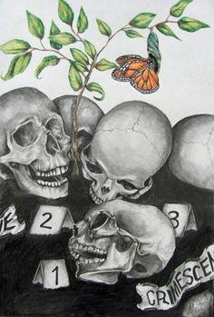 Graphite Skull Composition w/ Colored Pencil Focal Point - Conway High School Art Project
