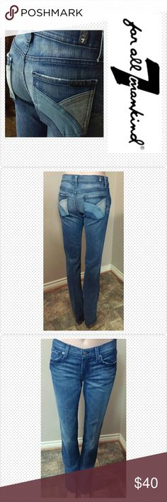 "7 FAM Straight 26x35.5 7 For all Mankind Straight Leg Jean size 26, inseam 35.5, rise 8"", waist laid flat 15"". Coated denim multi color pockets. Great condition. 7 For All Mankind Jeans Straight Leg"