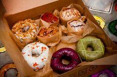 Fresh doughnuts at Doughnut Plant.<<<<< OHMYGOSH I LOVE THIS PLACE IT HAS THE BEST DONUTS IN THE UNIVERSE YUMMMMMMMMMMM