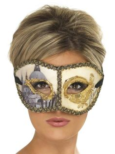 mens womens fancy dress accessory MASQUERADE BLUE SIDE FEATHER EYE MASK