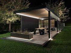 Outdoor Patio Designs, Outdoor Pergola, Outdoor Garden Rooms, Outdoor Living, Backyard Pavilion, Backyard Landscaping, Modern Gazebo, Modern Backyard, Terrace Design