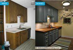 Small Kitchen Makeover Tiny condo kitchen before and after, with teal cabinets and butcherblock countertops. - My Tiny Condo Kitchen Cheap Renovations, Home Remodeling, Kitchen Remodeling, Budget Kitchen Remodel, Teal Cabinets, Kitchen Cabinets, Kitchen Countertops, Dark Counters, White Cupboards