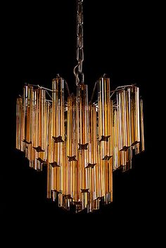 Italian Amber and Clear Murano Glass Tiered Chandelier by Venini