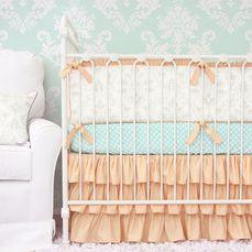 Lovely Damask Peach Baby Bedding Set