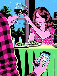 Ghost world meets adrian tomine, check out the spectacular r. Satire, Ghost World, Meaningful Pictures, Satirical Illustrations, Social Art, Wow Art, In Vino Veritas, Humor Grafico, Arte Pop