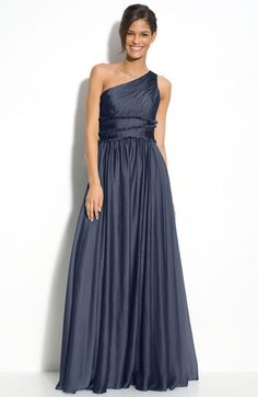ML Monique Lhuillier Bridesmaids One Shoulder Chiffon Gown (Nordstrom Exclusive) available at #Nordstrom