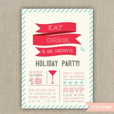 Printable Christmas Party Invitation Digital File by cesttresjolie ...