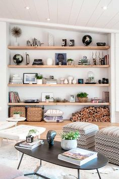 Having small living room can be one of all your problem about decoration home. To solve that, you will create the illusion of a larger space and painting your small living room with bright colors c… Living Room Shelves, Living Room Decor, Storage Ideas Living Room, Brown Living Room Furniture, Living Area, Bedroom Shelving, Den Decor, Decor Room, Cozy Living Rooms