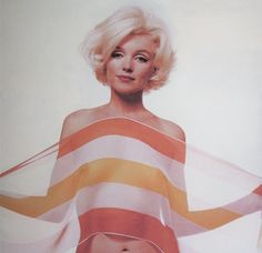 Marilyn. Orange Striped Scarf Sitting. Photo by Bert Stern, 1962.