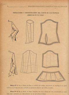 explicación y demostración del corte de las mangas  abiertas en el codo
