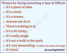 Phrases for Saying Something is Easy and Difficult