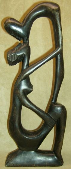 ABSTRACT NUDE MALE & FEMALE KISSING Figure Wood Carving African Art Collectibles