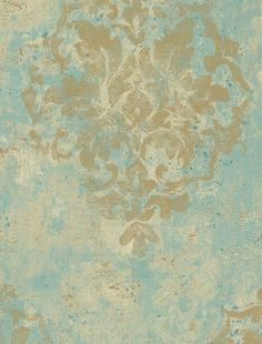 Wallpaper By The Yard - Antiqued Distressed Tan Damask on Robin Egg Blue, Aged… Damask Wallpaper, Designer Wallpaper, Wabi Sabi, Visual Texture, Wall Treatments, Painting Techniques, Belle Photo, Decoration, Paint Colors