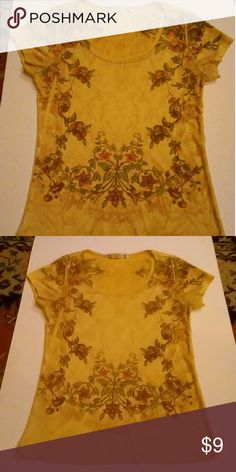 Yellow Floral Design women's shirt small Awesome feel..50% nylon 50% polyester Daniel Benjamin  Tops Tees - Short Sleeve