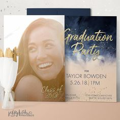 Showcase your favorite graduation photo on this gold, navy and soft coral watercolor graduation party invitation and graduation announcement in one. This design will be professionally personalized for you. Graduation Party Invitations, Graduation Party Decor, Invites, Jw Printables, Graduation Announcements, Font Styles, Color Change, Rsvp, Peach