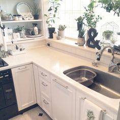 k.home1224さんの、キッチン,観葉植物,モノトーン,キッチン雑貨,小さなキッチン,出窓グリーン,のお部屋写真