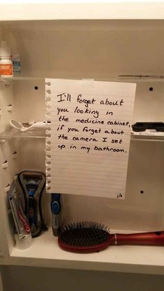 Leaving this note in your medicine cabinet while you have someone over for a first date: | The 23 Greatest Pranks Pulled In 2013