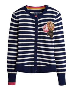 Joules null Womens Intasia Cardigan, French Navy.                     Sometimes along comes a cardigan that really stands out from the crowd. From the mismatched sleeves and intarsia detailing to the delightfully curved hem, we believe this cardigan is it. Crafted for a super-soft feel.