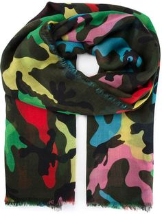 be2b417f7 Valentino - Green Camouflage Scarf for Men - Lyst