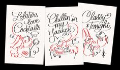"""Policestudio's illustrations for the Parisian Lobster's restaurant """"Les Pinces"""""""