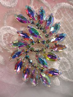 ACT/XR120 Aurora Borealis Marquise Swirl Crystal AB by gloryshouse