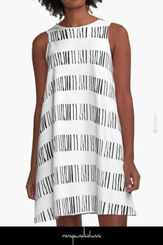 Organic 12 Black & White by Menega Sabidussi @redbubble Women Casual Designer Print Clothing #dress #clothing #apparel #wearableart #fashion #aline #redbubble #geometric #minimalism