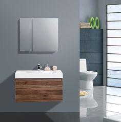 """AQUA DECOR Venice 36-Inch Modern Bathroom Vanity Set W/ Medicine Cabinet - Walnut - Vanities 36"""" to 40"""" - Vanities - Bathrooms"""