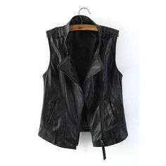 b06519afb10 Yoins Yoins Leather Gilet (335 ARS) ❤ liked on Polyvore featuring  outerwear