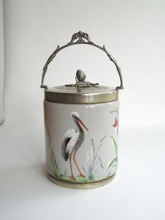 Antique taupe coloured Bristol glass biscuit barrel with enamelled decoration by art-of-glass, via Flickr