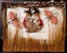 Birds nest, insect, bone shadow box  By Tracy Hebert