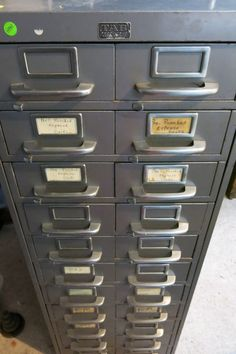 Beau Silver Steel Industrial Index Card File Cabinet