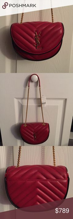 Saint Laurent Quilted Bag Brand new YSL Red leather bubble Quilted bag with gold chain  and 2 inner sleeves. One outer sleeve. Retail price $1190 Yves Saint Laurent Bags