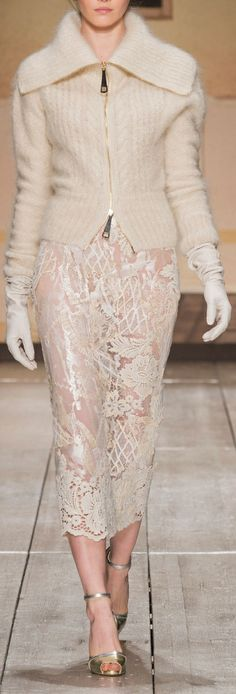 Laura Biagiotti at MFW Fall 2014 One of my favorite looks, but sorry.  This skirt needs a slip!