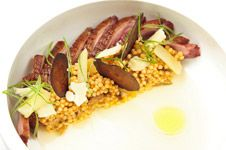 a meal i had at WD-50 in NYC that blew my mind. Duck breast, apple, cheddar,  kimchee-cous cous