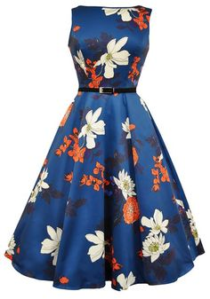 Japanese Floral on Blue Hepburn by Lady Vintage   http://www.misswindyshop.com/shop/item?id=18786
