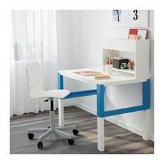 IKEA - PÅHL, Biurko z dostawką, biały/niebieski, , Biurko zostało tak zaprojektowane, aby rosło z Twoim dzieckiem, dzięki trzem różnym wysokościom.Biurko można łatwo wyregulować do 59, 66 lub 72 cm, używając pokrętła na nogach.Kable i przedłużacze możesz trzymać w sposób uporządkowany umieszczając je w uchwytach na kable między przednimi a tylnymi nogami.Wybierz efekt dopasowany do Twojego wnętrza i stylu odwracając panel tylny zieloną lub białą stroną na zewnątrz.