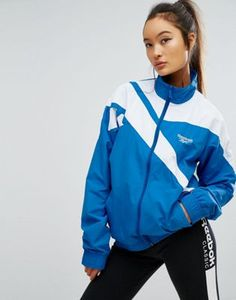 The model makes it hot  Reebok Classics Vector Full Zip Shell Tracksuit Jacket